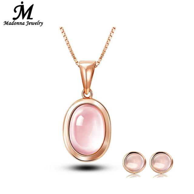 1 Set Fashion Round Design Vintage Pink Quartz Stone Women Stud Earrings Jewelry Prom Party
