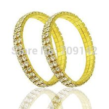 Charter Golden yellow style 2 Row Crystal Pave Stretch Bracelet RHINESTONES WEDDING DIAMONTE Bangle wholesale 10pcs bracelets