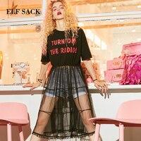 ELF SACK European Woman T shirt Cotton Casual Tshirt Letter Print Female O Neck Long T shirt Ins Harajuku Flounce Mesh Woman