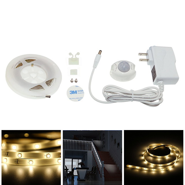 Motion Activated Bed Light 1.2M 36LED 12V Flexible LED Strip Night Illumination with Automatic Shut Off Timer Sensor for Bedroom