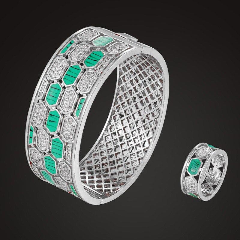 Zlxgirl Europe design green snake bangle ring jewelry sets for women metal copper cubic zircon wedding