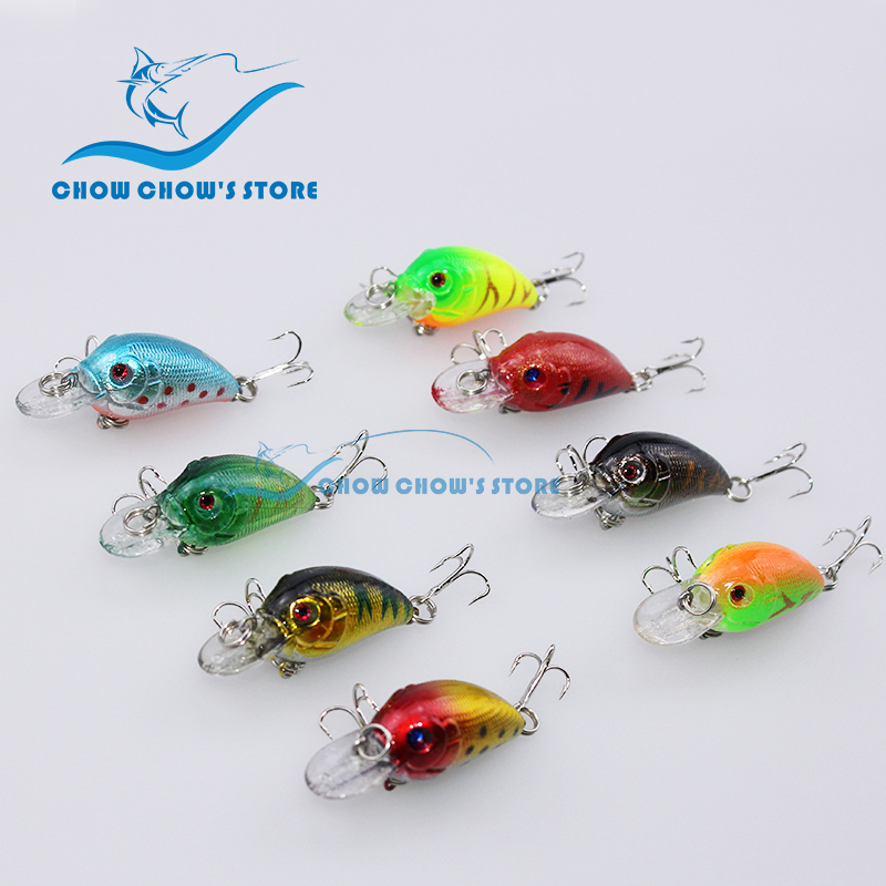 8PCS / Lot 3D Eyes Fishing Lure med krokar 4.5cm / 4.2g Pesca Crankbait Hård bete Japan Wobblers Lure