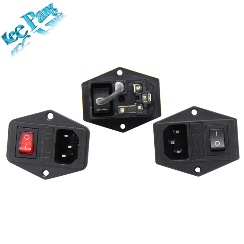 5pcs/lot 10A 250V Power Switch 3 in 1 AC Part Red Black 3D Printers Parts Fuse Supply Socket Outlet Triple with Cable Copper 3 pin diy ac power socket with fuse and switch black 5 pcs
