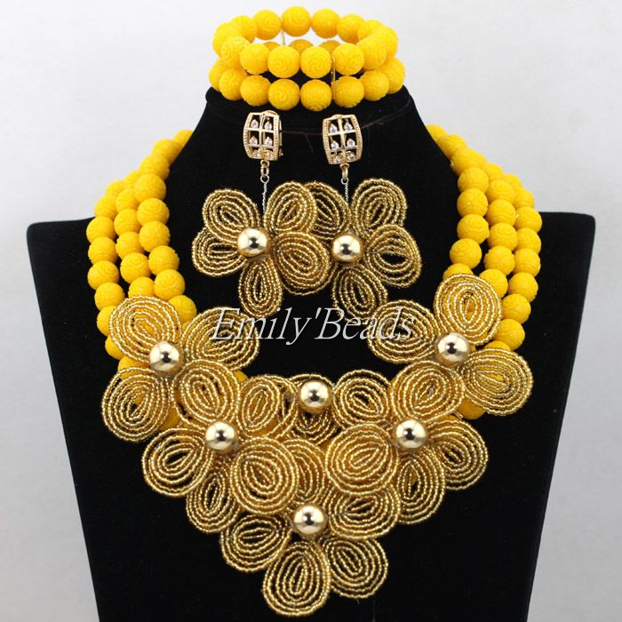 Yellow Nigerian Wedding Indian Costume Bridal Jewelry Set African Artificial Coral Beads Necklace Gold Flowers CJ555 In Sets From