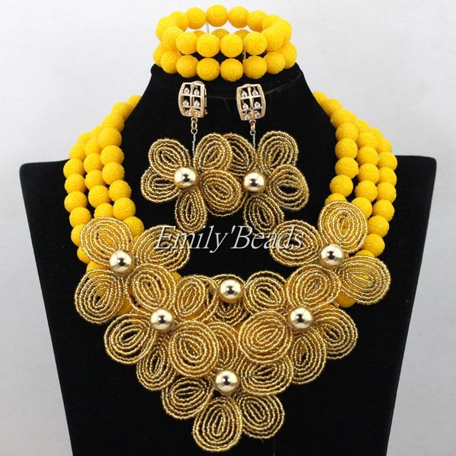 Yellow Nigerian Wedding Indian Costume Bridal Jewelry Set African