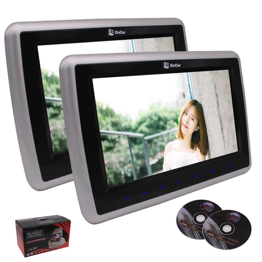 2x 10.1 inch HD TFT LCD Car pillow dvd cd video Headrest Monitor DVD Video Player USB/SD/HDMI/FMremote control IR non-Headphone non woven fabrics hanging type 18 cd dvd card holder beige