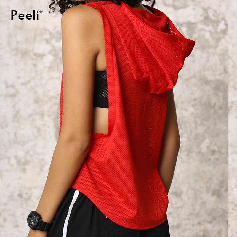 Peeli Hooded Running Shirts Gym Yoga Tops 2018 T Shirts Sports Jacket Jersey Quick Dry Women Tank Top Fitness Female Sportswear