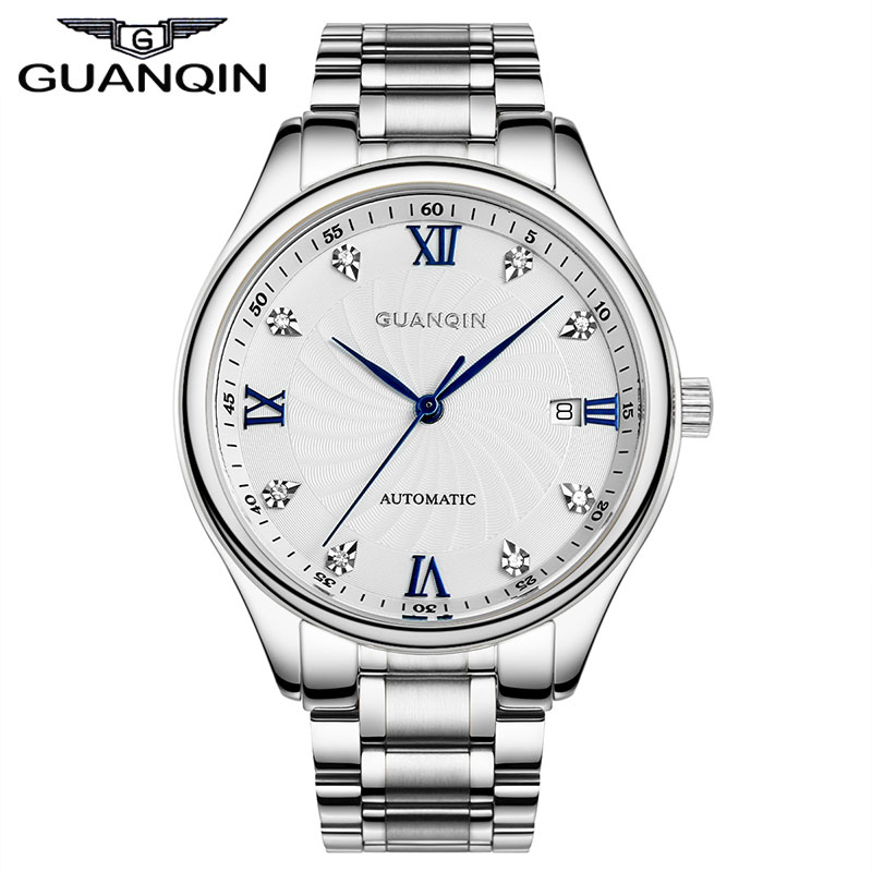 GUANQIN Men's Business Luxury Gold Watches Full Steel Diamond Mechanical Watch Japan Movement relogio relojes relojes full stainless steel men s sprot watch black and white face vx42 movement