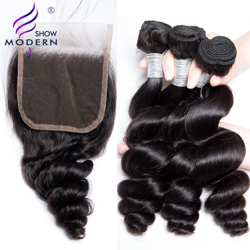 近代的なショーのバンドル閉鎖 3 バンドルブラジル髪織り 4 ピースヘアエクステンションレミー人間の髪のバンドル閉鎖  グループ上の ヘアエクステンション & ウィッグ からの 3/4 バンドル留め具付き の中 1