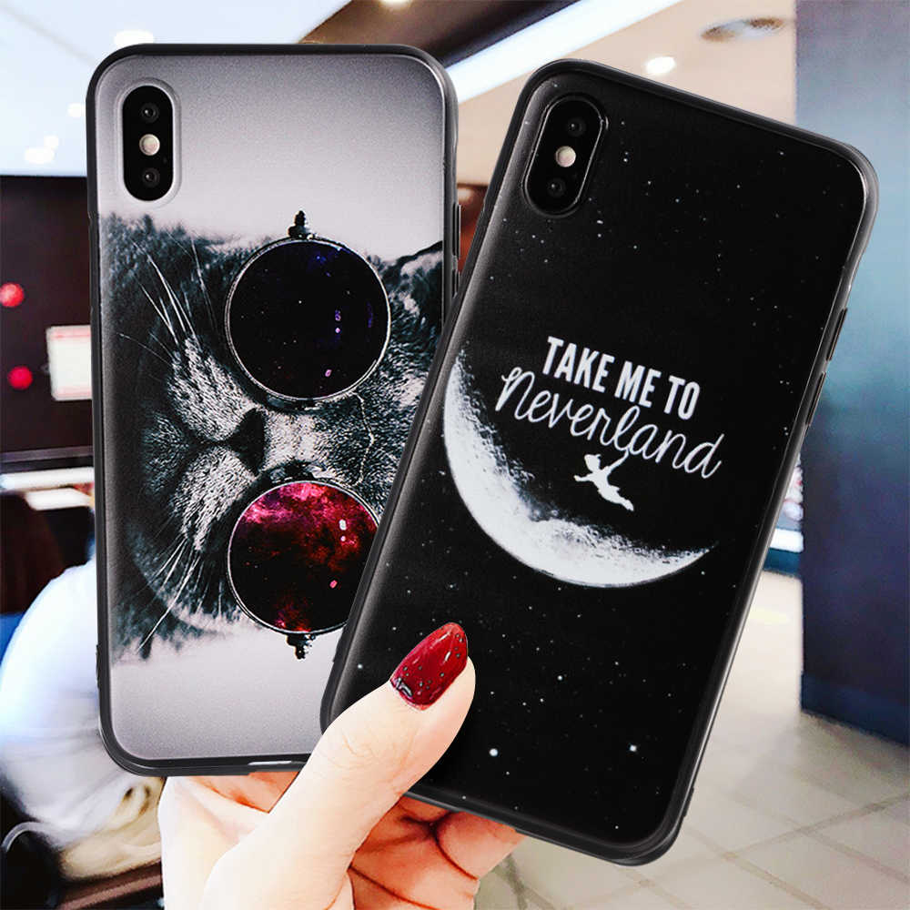 For iPhone 7 Case Silicone TPU Cover for iPhone X 8 7 6 6s Plus XS Max 5 5s SE XR Cute Animails Cartoon Prinetd Fundas Capa