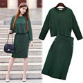 Fashion Green 2 Piece Set Women Winter Suit Solid Color Zipper Crop Top + Tight Skirt Two Piece Outfit Set For Women