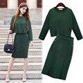 Moda Verde 2 Peça Set Mulheres Terno Do Inverno Cor Sólida Zipper Top curto + Saia Apertada Roupa de Duas Peças Set Para As Mulheres