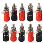 Mayitr 10pcs Red + Black Banana Socket Nickel Plated Binding Post Nut Banana Plug Jack Connector Suitable For 4mm Banana Plug