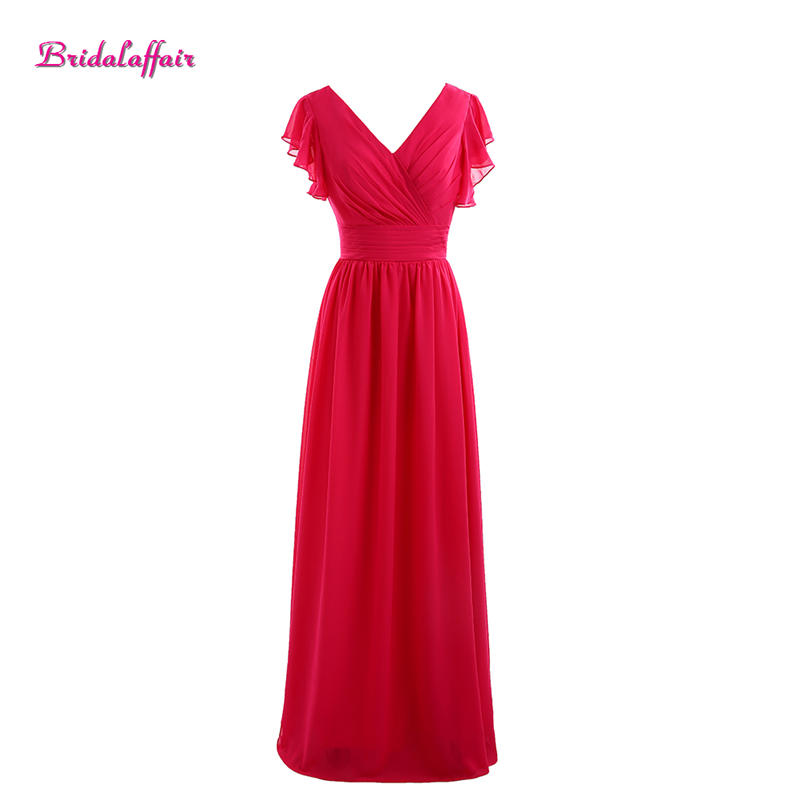 Bridalaffair Real Photo Red Chiffon V Neck   Prom     Dresses   2017 Cheap Simple Short Sleeve Zipper Party Evening Gown Robe de soiree