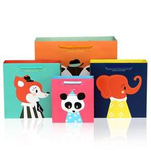 20pcs/lot 14.5*7*15.5cm Cute Cartoon Gift Bag with Handles Baby Shower Kids Birthday Party Package Bags