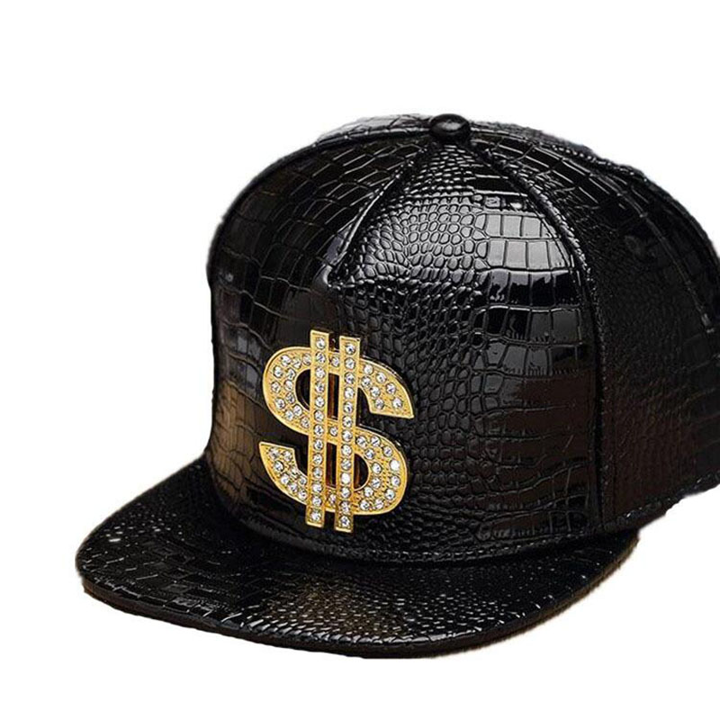 HTB1bzt4PsbpK1RjSZFyq6x qFXa3 - Faux Leather Baseball Caps Gold Dollar $ Logo With Bling Hiphop Gorras Snapback Hat Adjustable Fashion Cool Casquette For Unisex