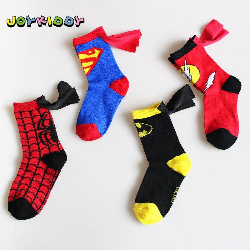 The Avengers Kids Funny Socks Superman Batman The Flash Boy Girl Cotton Cosplay Socks Wholesale Socks Cartoon for Children 3-6T