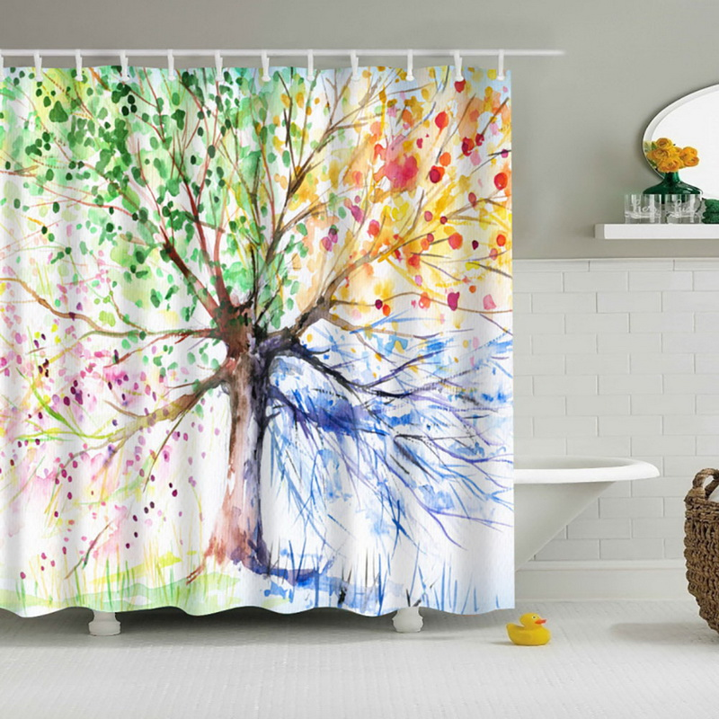 new bathroom waterproof fabric shower curtain with 12 hooks colorful tree pattern waterproof fabric bathroom in shower curtains from home garden on - Colorful Shower Curtains