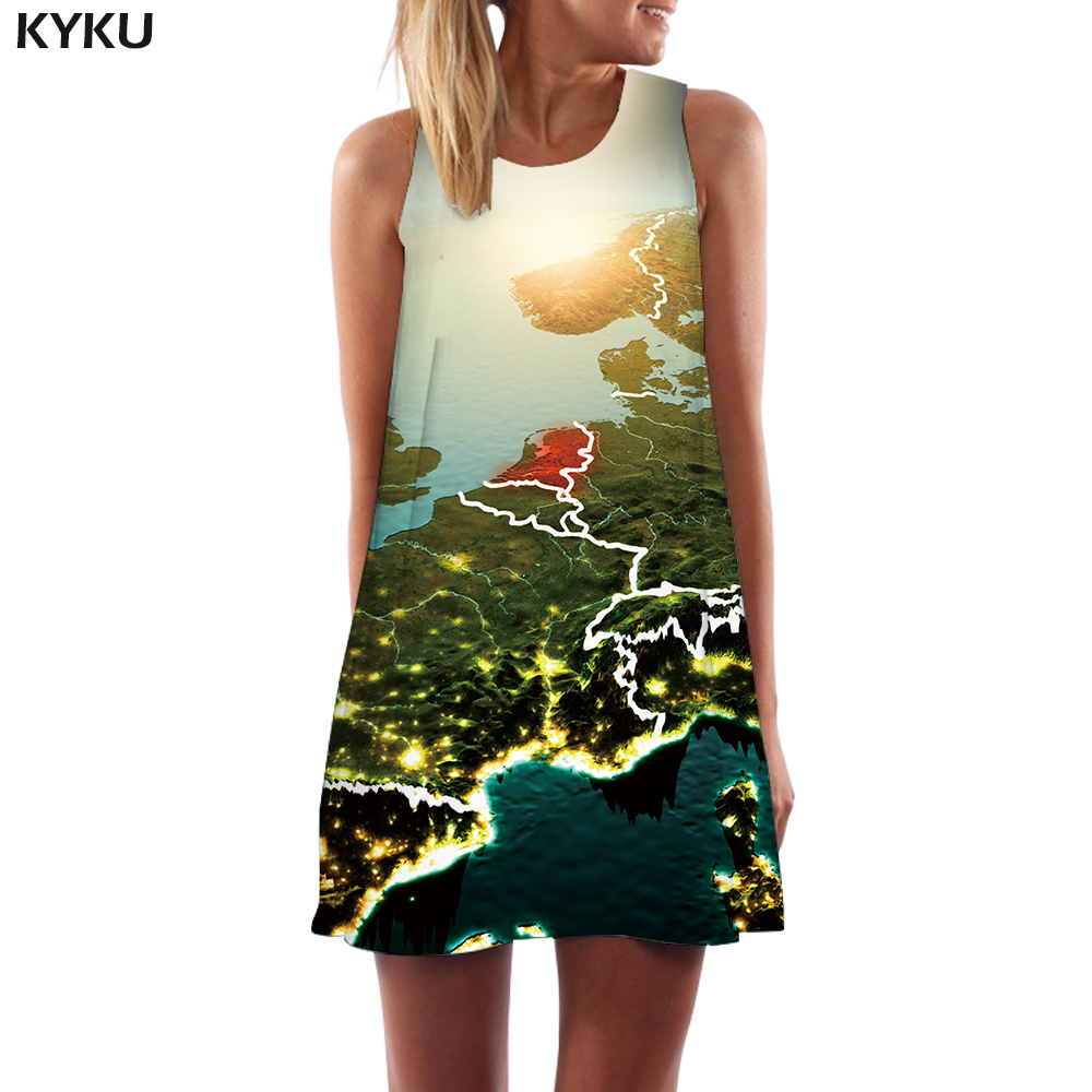 KYKU Brand World Map Dress Women Spain Boho Mountain 3d Print Moon Beach Harajuku Short Womens Clothing Tassel Sleeveless Tunic
