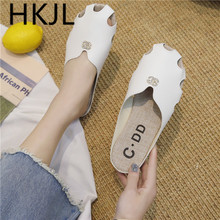 HKJL Fashion 2019 summer new flat head slippers women loafers fashion outside wear with hollow trend A525