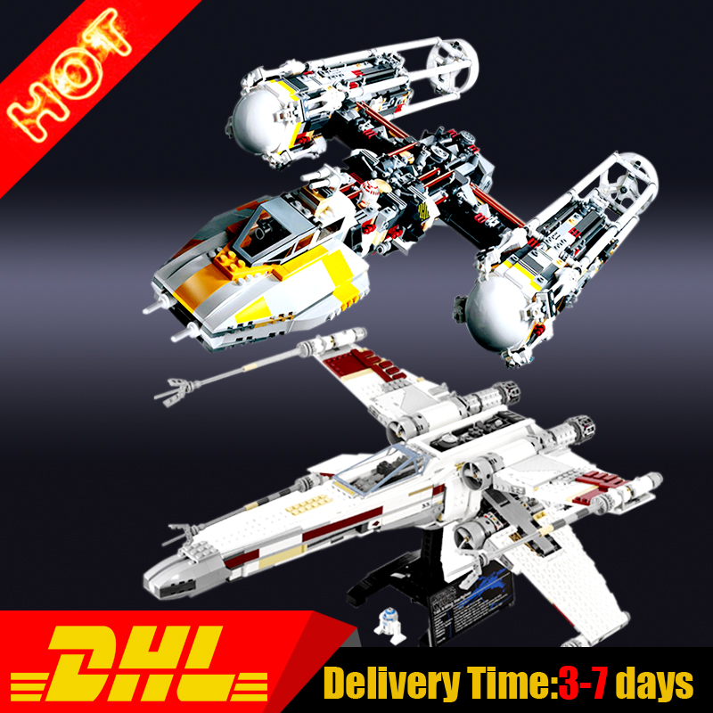 LEPIN 05039+05040 1586pcs UCS The X-wing +Y-wing Attack StaRed Five Starfighter Model Building Kit Set Blocks Bricks lepin 05040 y attack starfighter wing building block assembled brick star series war toys compatible with 10134 educational gift