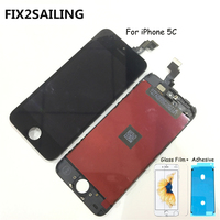 FIX2SAILING 100% Grade AAA LCD Display Touch Screen Digitizer Assembly Replacement For Apple iPhone 5C +Glass Film +Adhesive
