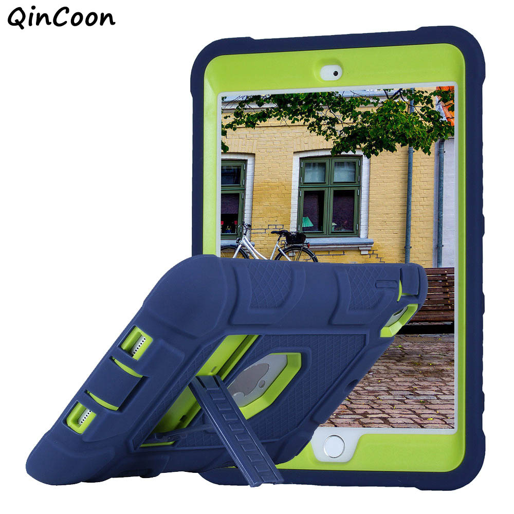 High Quality Armor Case for iPad mini 1 2 3 Kids Safe Shockproof Tablet Case Silicone + PC Heavy Duty Cover w/Stand Funda Coque