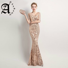 2019 Party Long Prom Dress Mermaid  Sequins Half Sleeve Womens Elegant Evening Dresses