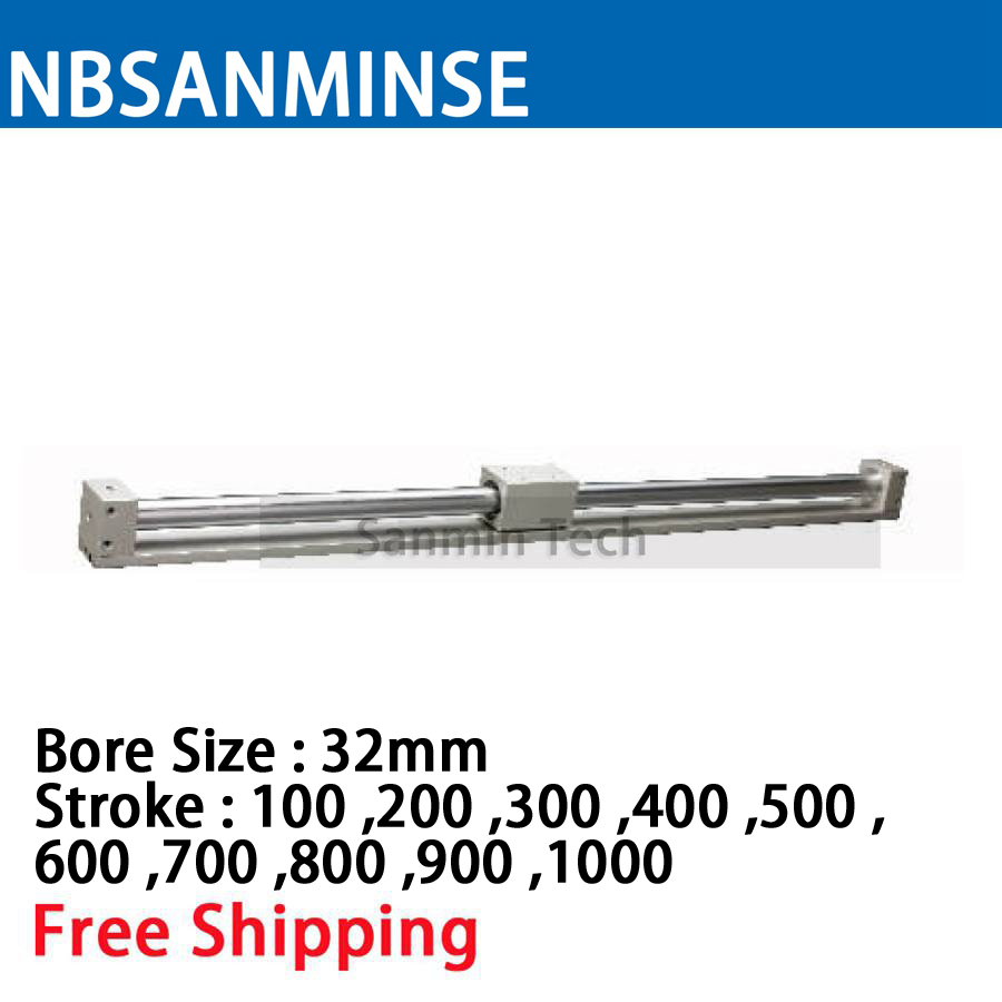CY3R 32mm Bore Size Pneumatic Magnetically Coupled Rodless SMC Similar Parts Pneumatic Parts Compress Air Cylinder Sanmin cy1s 25mm bore air slide type cylinder pneumatic magnetically smc type compress air parts coupled rodless cylinder parts sanmin
