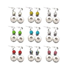 Hot Sale 030 Bohemia Cute Rhinestones 18mm Snap Button For Women Charms White K Plated Design Interchangeable Earrings Jewelry