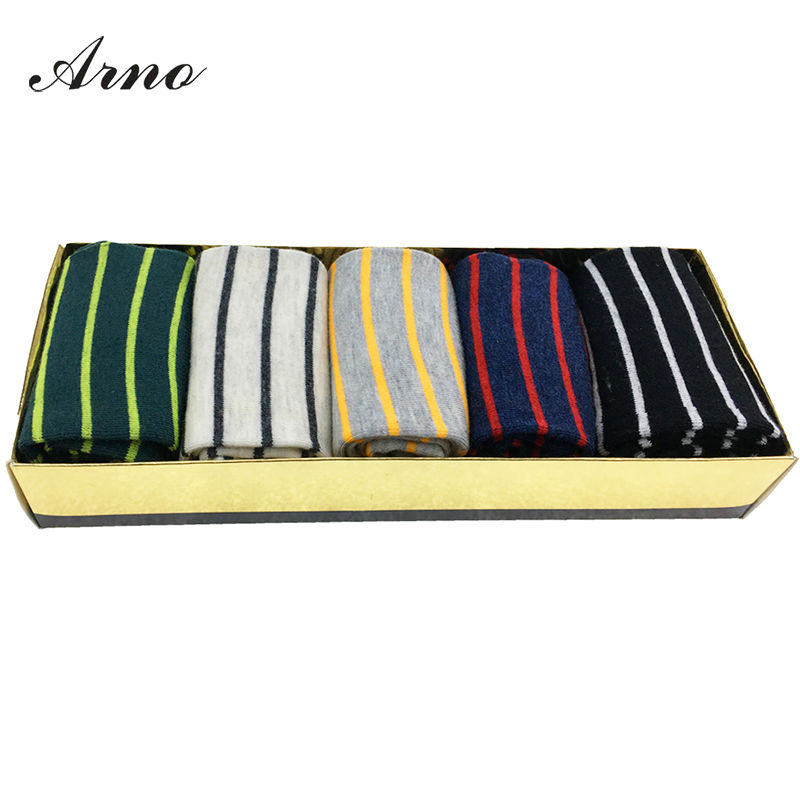 Arno 2016 Male Happy Sock Men Striped Dress Socks Color Cotton Sock Calcetines Hombre Casual Socke For Men,5001-5