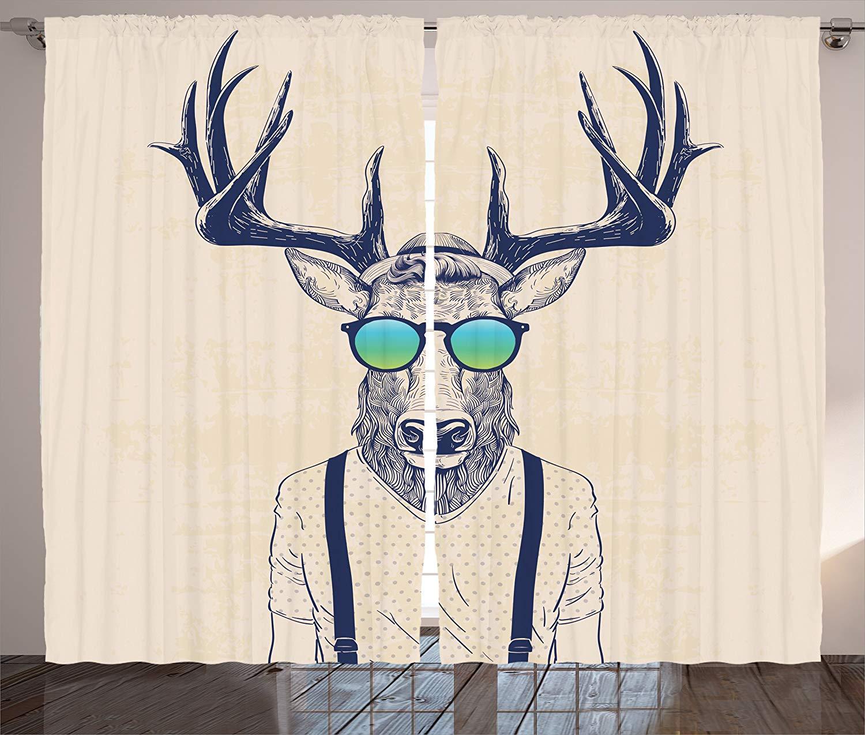 Consegna Veloce Corna Tende Illustrazione Di Cervo Vestita Come Fresco Moda Pantaloni A Vita Bassa Divertimento Creativo Animal Print Soggiorno Camera Da Letto Decor