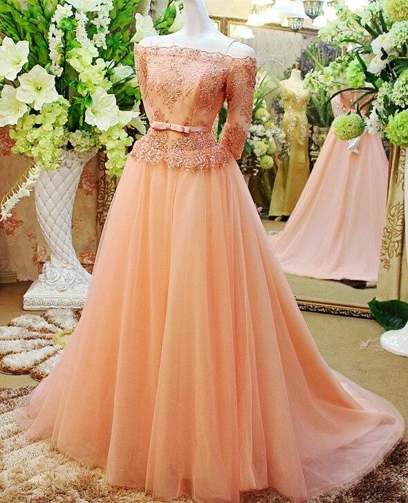 Sur mesure a-ligne dentelle demi manches robe de soirée pour robe de soirée tenue de soirée 2020 nouveau caftan abaya XE35