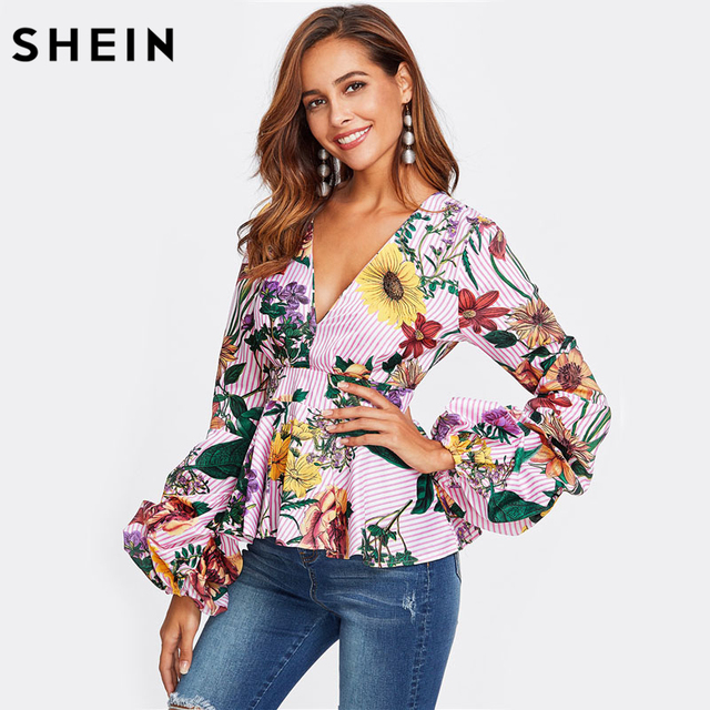 SHEIN Mixed Print Plunging Peplum Top Womens Autumn Tops Blouses Multicolor V Neck Long Sleeve Sexy Elegant Striped Blouse