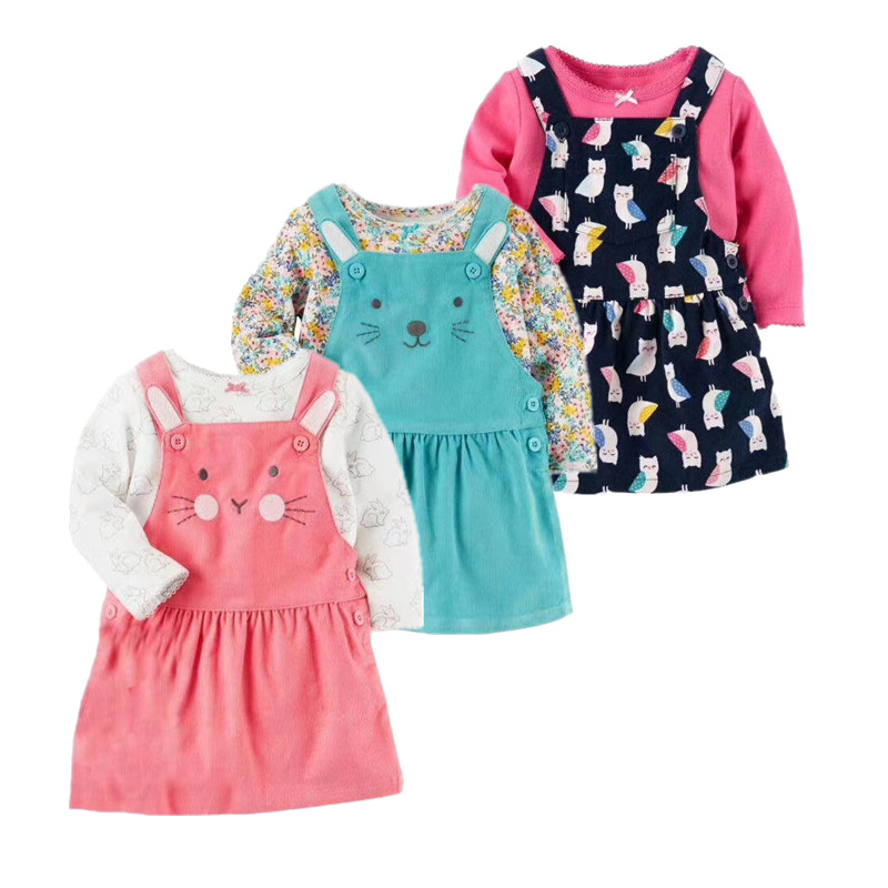 2018 spring infant dresses t shirt + baby long sleeve dress 2 pcs clothing set , cartoon cute Corduroy costume for baby girl