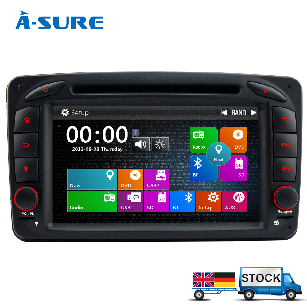 imágenes para A-sure Coche DVD Radio Navegación GPS para Mercedes-benz C/CLK Class W209 W203 Viano Vito W639 G-class W463 USB Ipod VMCD SD