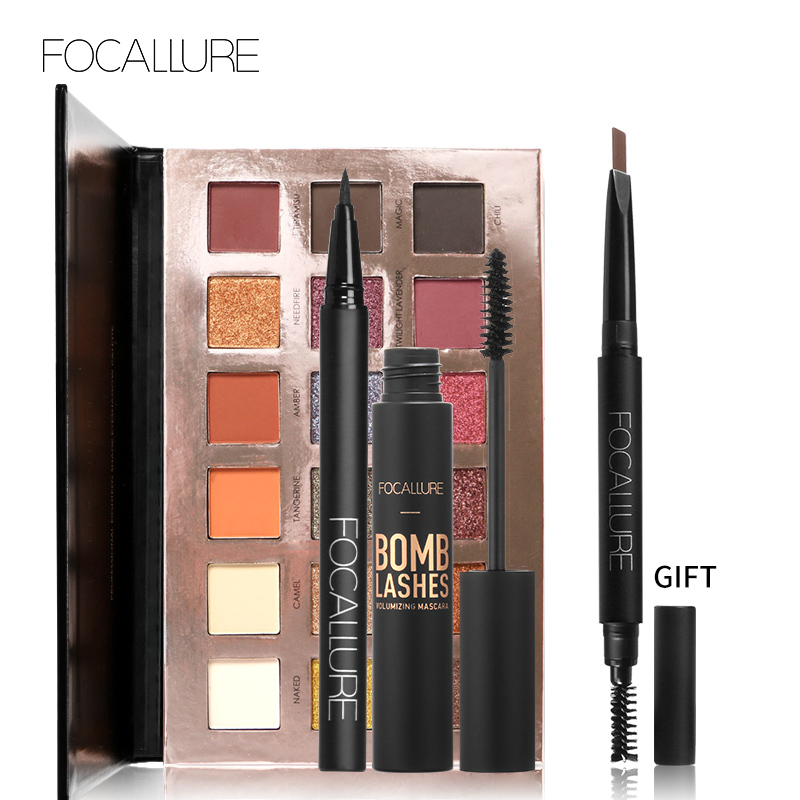Buy 3 Get 1 Gfit FOCALLURE Shimmer Matte 18 Colors Eyeshadow Palette Black Color Mascara Liquid Eyeliner Pencil with Eyebrow free shipping 3 pp eyeliner liquid empty pipe pointed thin liquid eyeliner colour makeup tools lfrosted purple