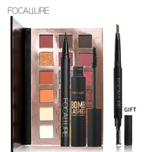 FOCALLURE makeup set with Shimmer Matte 18 Colors Eyeshadow Palette Black Color Mascara Liquid Eyeliner Pencil Eyebrow