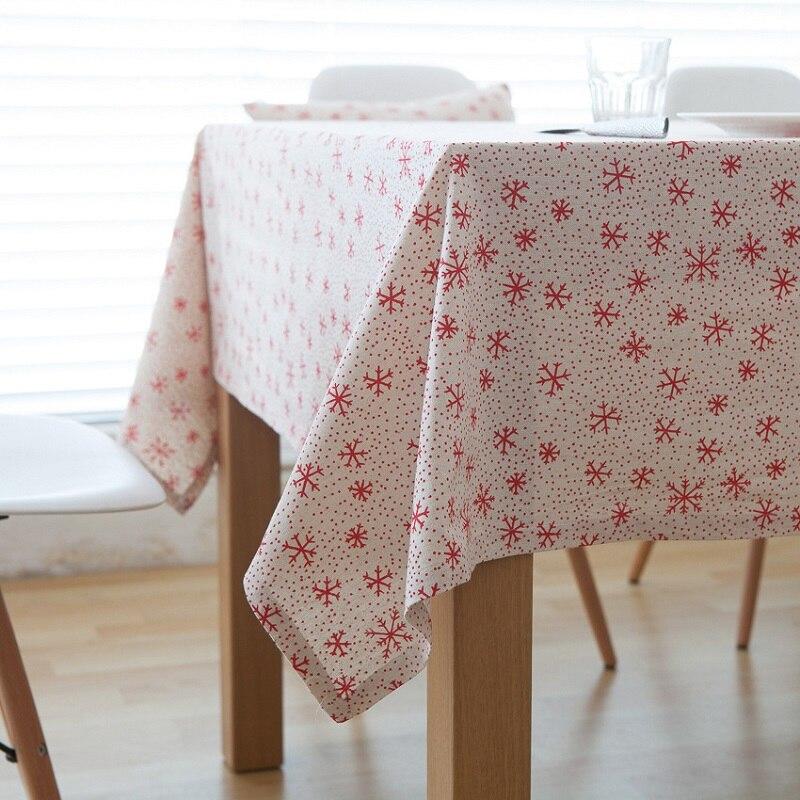 Christmas Snowflake Design Cotton Linen Tablecloth Printed