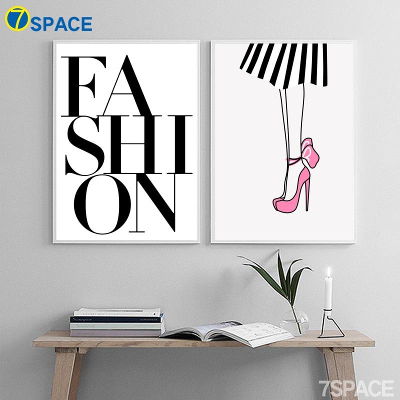 7 Space Cartoon Wall Art Modern Fashion Quotes Canvas