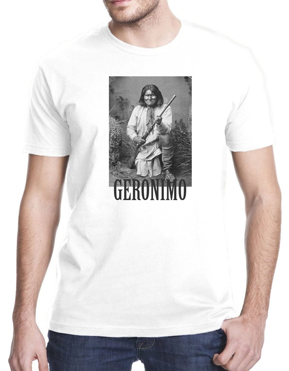 2017 mode Kurzarm Schwarz-t-shirt Geronimo Apache Krieger T-Shirt