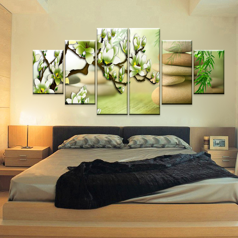 Wall pictures for living room bedroom cobblestone magnolia flower picture modern multi panel