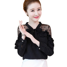 59efb5cb742 IOQRCJV primavera mujer camisa 2019 salvaje elegante Casual chifón camisa  blanco negro onda punto Delgado manga