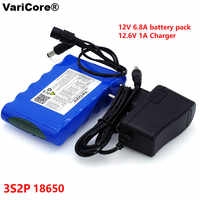 VariCore Portable Super 18650 Rechargeable Lithium Ion battery pack capacity DC 12 V 6800 Mah CCTV Cam Monitor 12.6V 1A Charger
