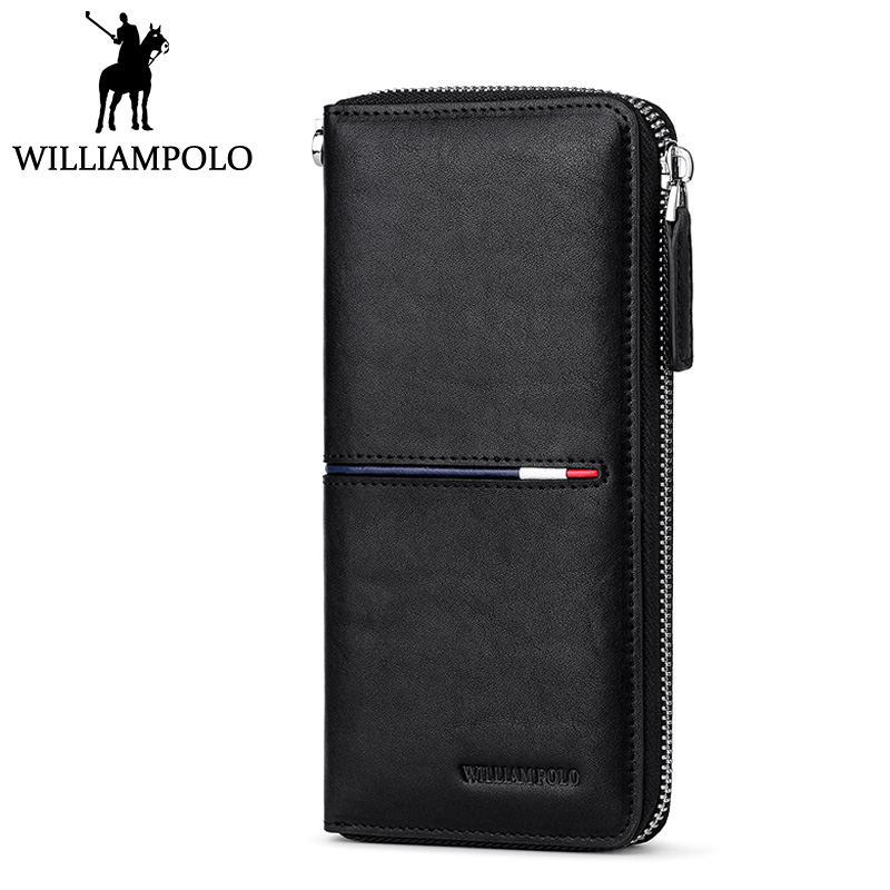 WILLIAMPOLO Genuine Leather Long Wallet Men Zipper Clutch Wallet Luxury Brand Male Purse Black Business Men's Gift Husband Pouch электрогитара dean zero cbk