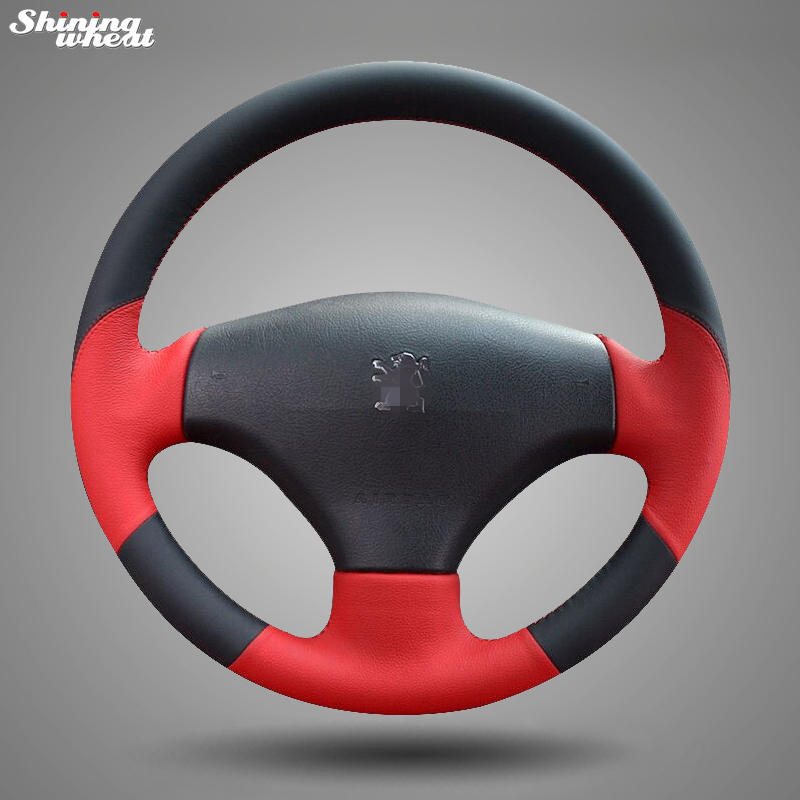 Shining wheat Black Red Leather Hand-stitched Steering Wheel Cover for Peugeot 206 2007-2009 /207 shining wheat hand stitched black leather steering wheel cover for peugeot 206 2007 2009 207 citroen c2