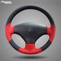 Shining wheat Black Red Leather Hand stitched Steering Wheel Cover for Peugeot 206 2007 2009 /207 Steering Covers Automobiles & Motorcycles -