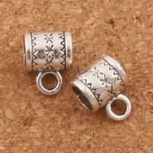 Flower Tube Bail Beads 10.1x8.1mm 55pcs Antique Silver Connectors Fit Charm European Bracelet L725