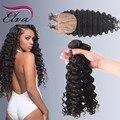7а бразильский глубокая волна шелк база закрытие с 3 связки девы закрытие человеческие волосы шелк база с пучками глубокая волна с закрытием