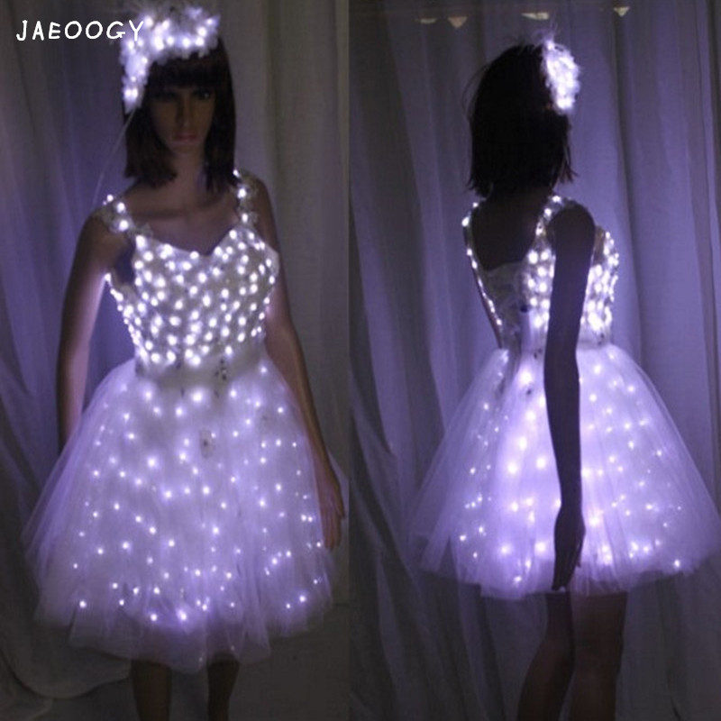 Free shipping the high quality of the bride dance shine LED dress girl ballet performance women's Christmas gift show props